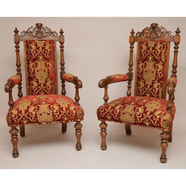 Pair of Antique English Carved Oak Arm Chairs c. 1880 - Image 2 of 5