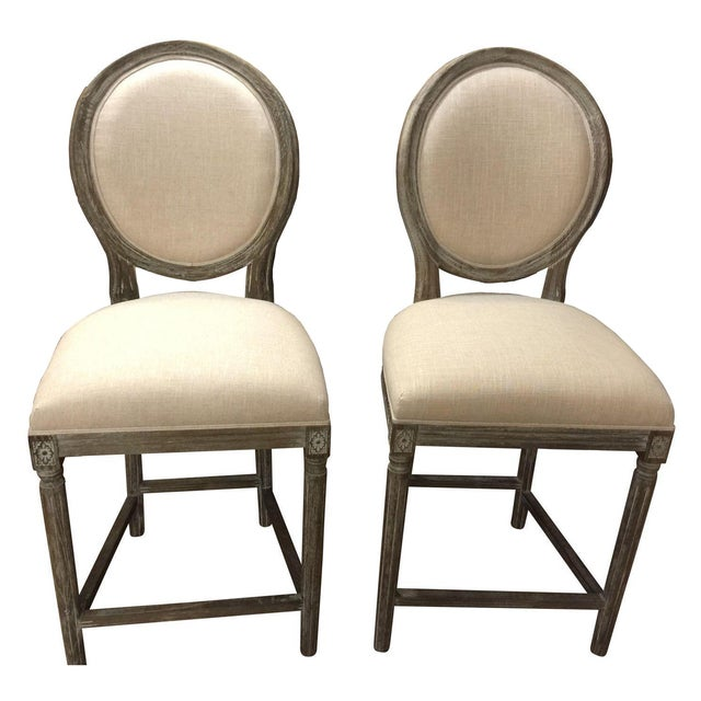 Off White Hand Painted Pub Chairs - 2 - Image 1 of 5