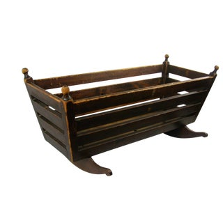 19th Century Antique Rustic Wood Cradle For Sale