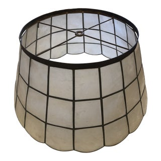 Vintage Capiz and Metal Lamp Shade For Sale