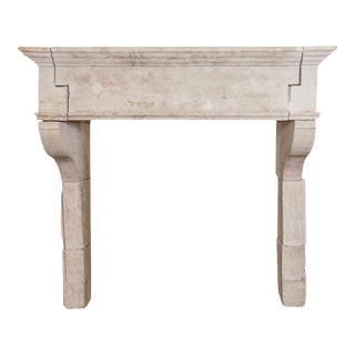 Louis XIII Antique Limestone Mantel, circa 1820 For Sale
