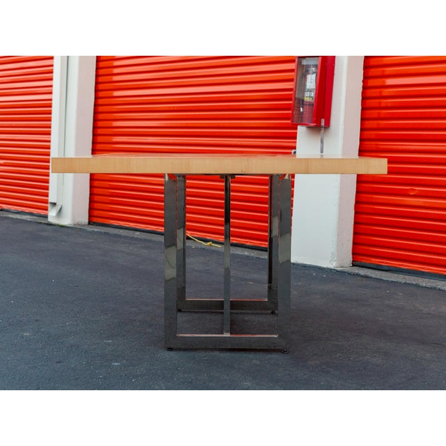 2000 - 2009 Mid-Century Modern Francois Langin Custom Wood and Chrome Dining Table For Sale - Image 5 of 12