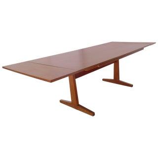 Danish Modern Teak Extending Table With Pedestal Base, 1960s For Sale