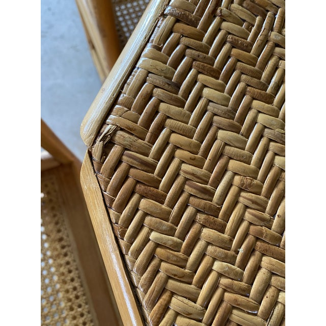 Chippendale Vintage Brighton Pavilion Style Bamboo and Wicker Weave Table Four Chairs For Sale - Image 3 of 13