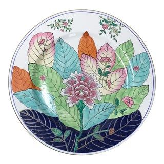 Tobacco Leaf Hand Painted Ceramic Wall Plate Ready to Hang With Brackets For Sale