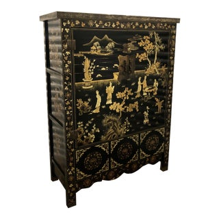 Vintage Chinese Black Lacquer Chinoiserie Cabinet For Sale