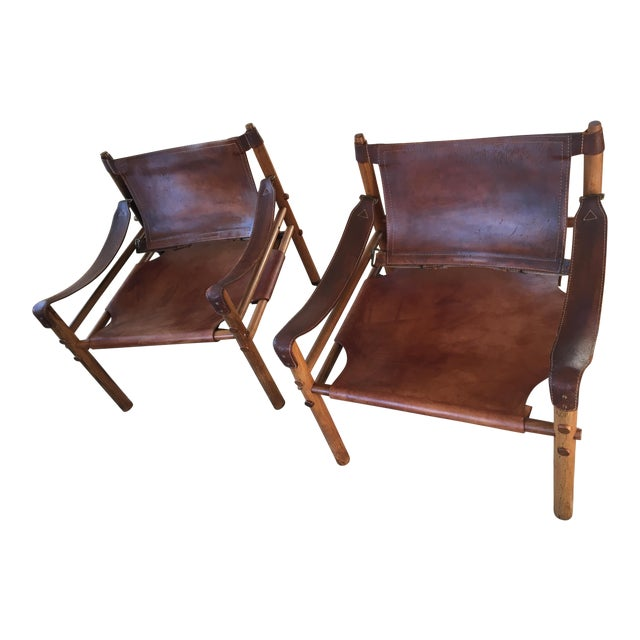 Vintage Mid Century Arne Norell Scirocco Leather Chairs- A Pair For Sale