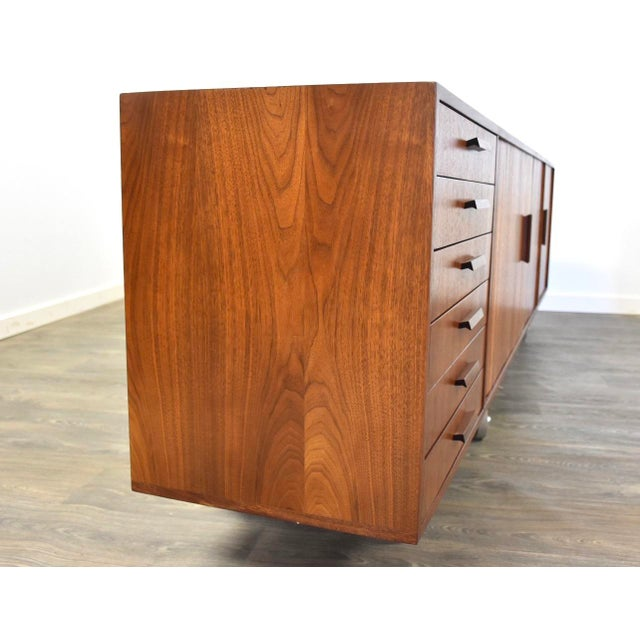 """1960s 108"""" Floating Walnut Tambour Credenza by Furnette For Sale - Image 5 of 12"""