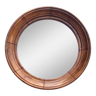 Vintage Round Solid Wood Mirror For Sale