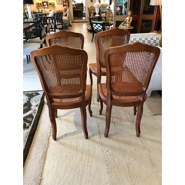 1950s Vintage Classic French Style Caned and Wood Side Dining Chairs- Set of 4 For Sale - Image 10 of 13
