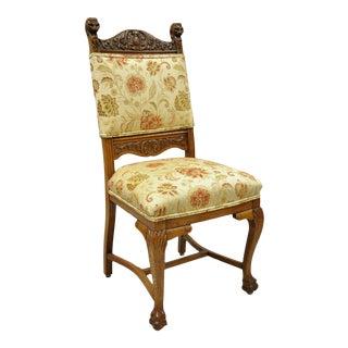 Late 19th Century Antique Carved Oak Renaissance Revival Side Chair For Sale