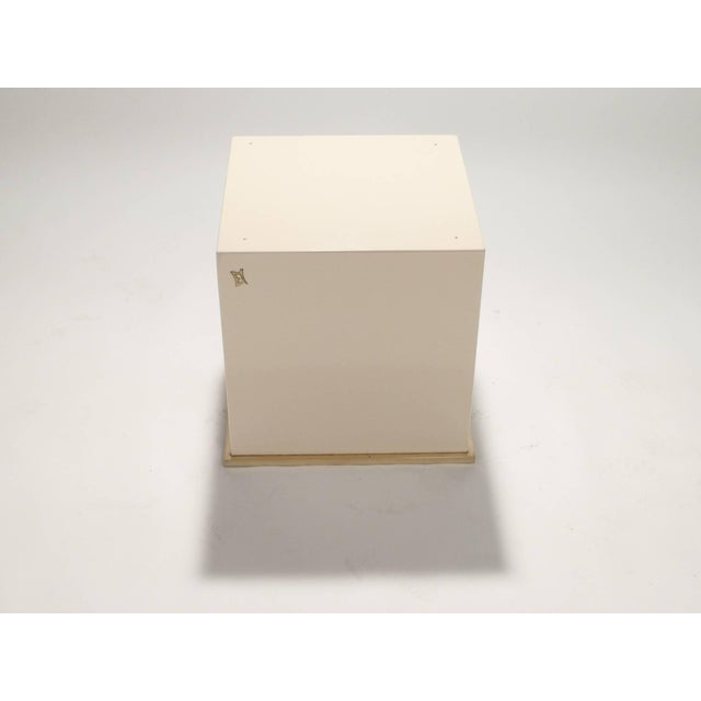 1970s Jc Mahey Lacquer and Brass Cube Side Table, 1970s For Sale - Image 5 of 6