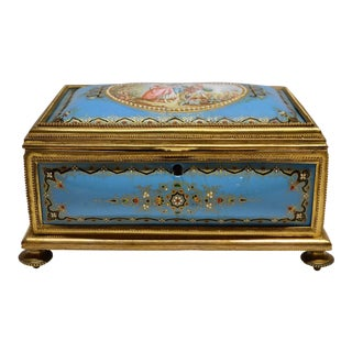 Antique French Jeweled Enamel Box circa 1870 For Sale