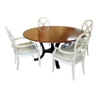 Country Henredon Furniture Acquisitions Paris Yvon Round Dining Set - 5 Pieces For Sale