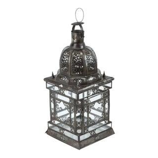 Moroccan Moorish Clear Glass Lantern With Filigree Design For Sale
