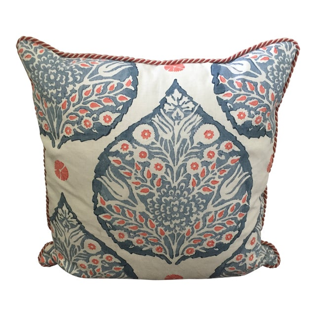 Custom Galbraith & Paul Lotus Coral and Blue Pillow Cover For Sale