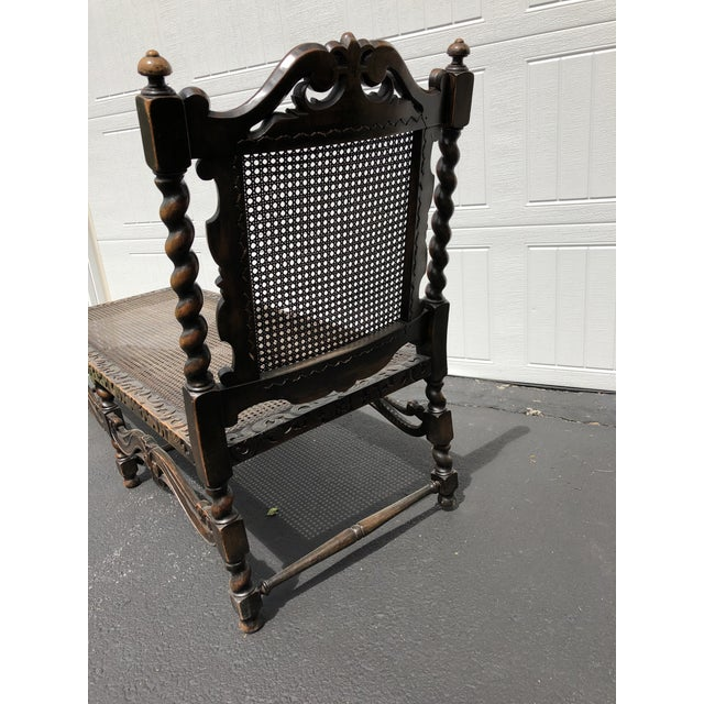 20th Century Jacobean Style Caned Chaise Lounge For Sale - Image 4 of 10