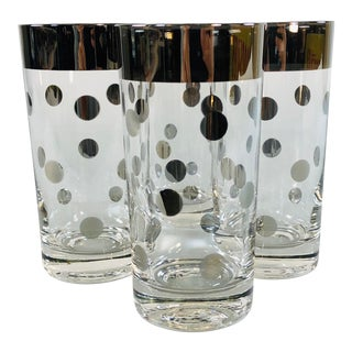 1960s Silver Polka Dot Glass Tumblers, Set of 4 For Sale