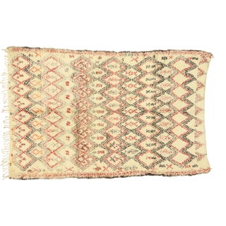 Vintage Beni Ouarain Moroccan Rug With Mid-Century Modern Style - 07'02 X 10'10 For Sale