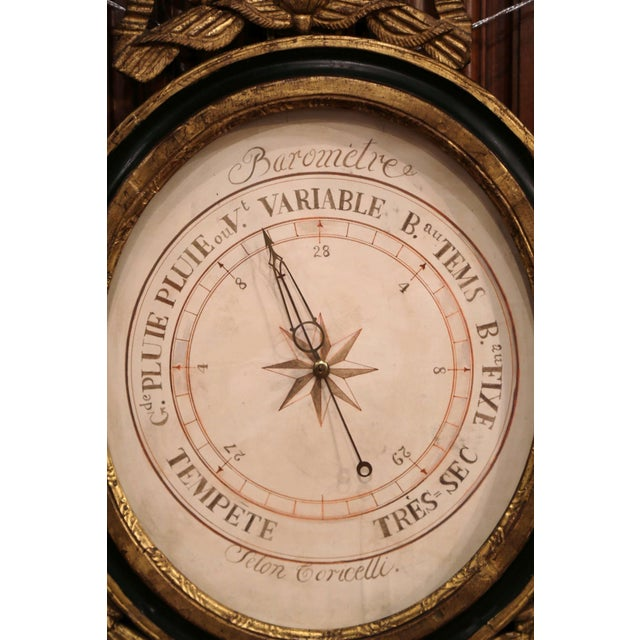 Mid-18th Century French Louis XVI Carved Giltwood Wall Barometer Selon Toricelli For Sale - Image 4 of 8
