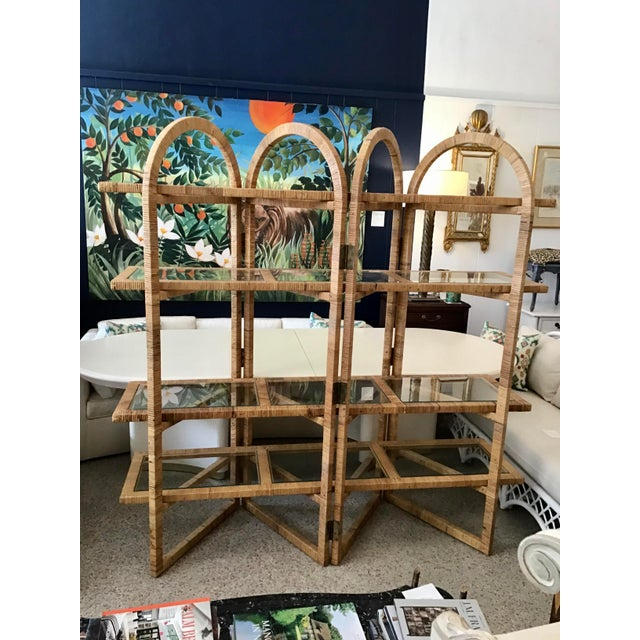 Bielecky Brothers Rattan Arch Top Etagere For Sale - Image 12 of 12