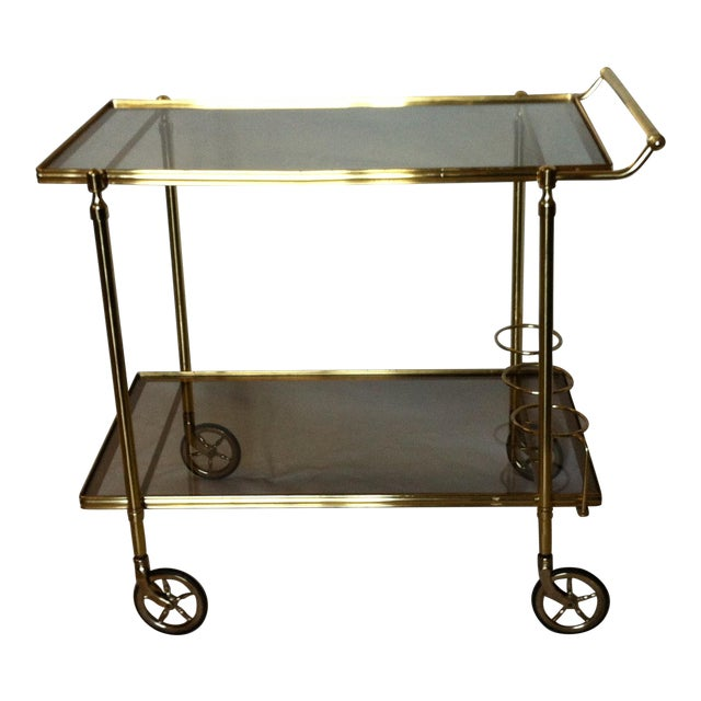 Maison Jansen Italian Brass Bar Cart - Image 1 of 6