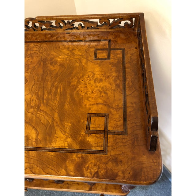 Mobili Burl Canterbury and Console With Carved Fretwork For Sale - Image 9 of 12