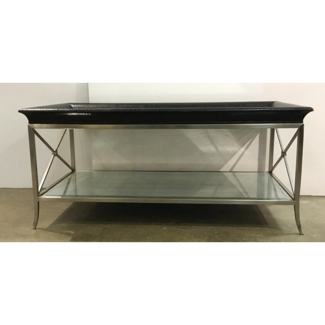 Stylish Ferguson Copland modern Eglomise cocktail table, silver metal frame and black vinyl python textured trim, showroom...