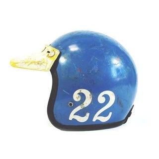 Vintage 1970s Blue Motorcycle Helmet