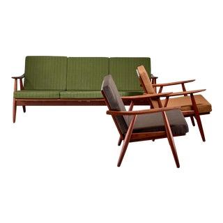 Hans Wegner Lounge Set With Pristine Original Upholstery, Denmark For Sale