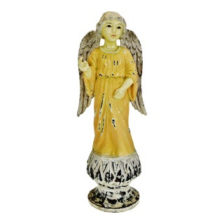 Vintage Painted Chalkware Angel Figurine Statue For Sale