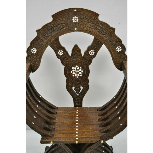 Islamic 19th Century Mother of Pearl Inlay Syrian Savonarola Curule Throne Arm Chairs- A Pair For Sale - Image 3 of 12