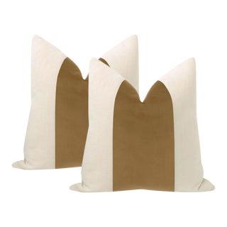 """22"""" Nutmeg Designer Velvet Panel & Linen Pillows - a Pair For Sale"""