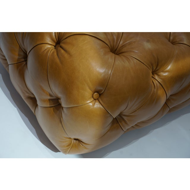 Late 20th Century Vintage George Smith Button Tufted Leather Bench For Sale - Image 5 of 9
