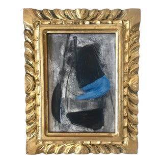 Abstract Black and Blue Painting, Vintage Frame For Sale