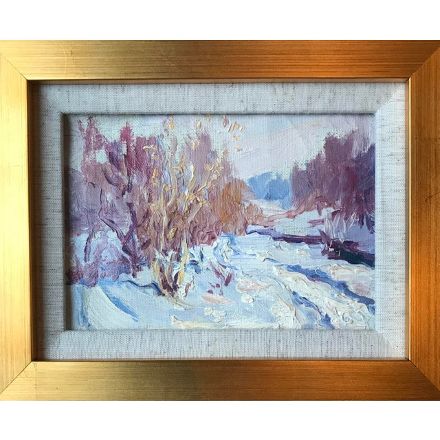 "Impressionist style vintage oil of a winter landscape framed in a new gold wood frame. Overall dimensions 11""by13""."