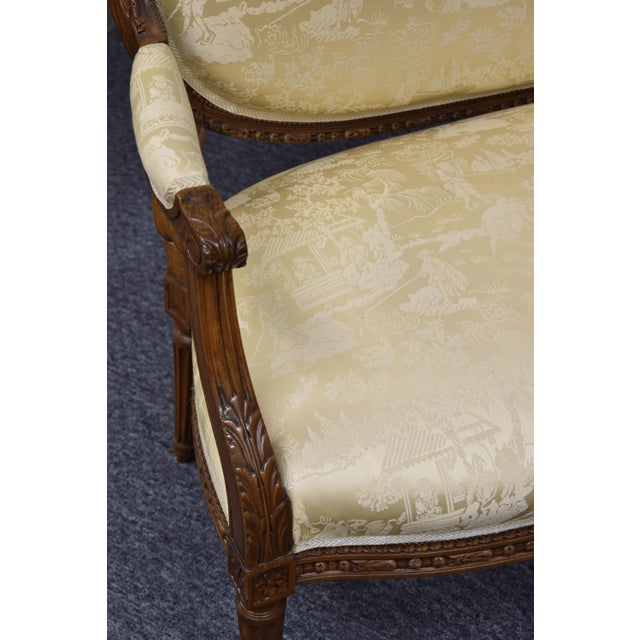 19th Century French Louis XVI Style Carved Chinoiseries Canape Settee For Sale - Image 6 of 12