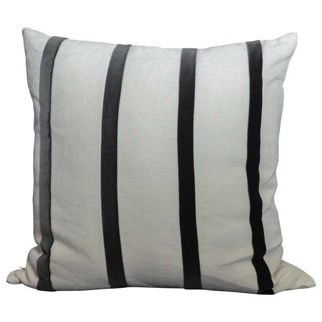 Cream Linen Pillow With Gray Velvet Stripe - Image 1 of 3