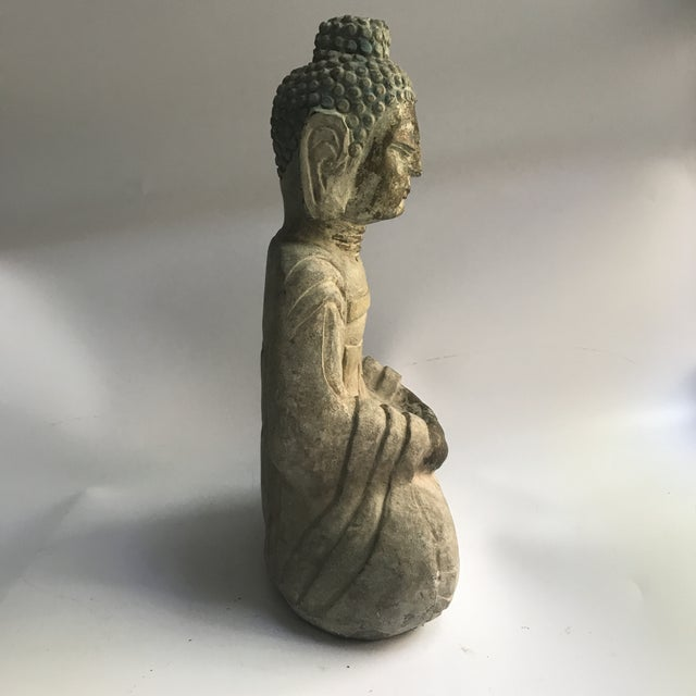 Antique Tibetan Carved Stone Temple Buddha For Sale In New York - Image 6 of 13