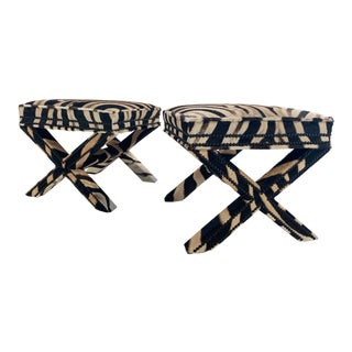 Billy Baldwin Style X Benches Restored in Zebra Hide - Pair For Sale
