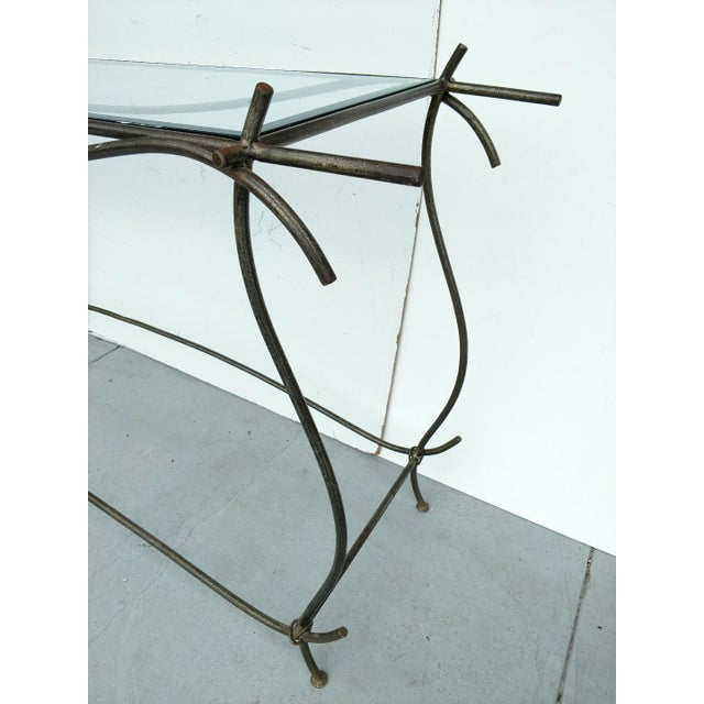 Transparent Wrought Iron and Glass Console Table, Vintage For Sale - Image 8 of 13