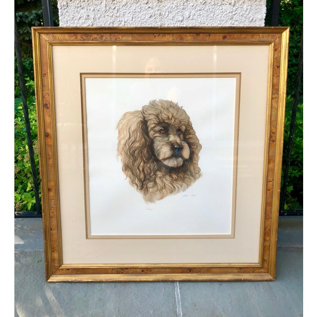 Beautifully rendered dog portrait. Exact medium used is not clear but it looks like pencil, pen and a gouache. The...