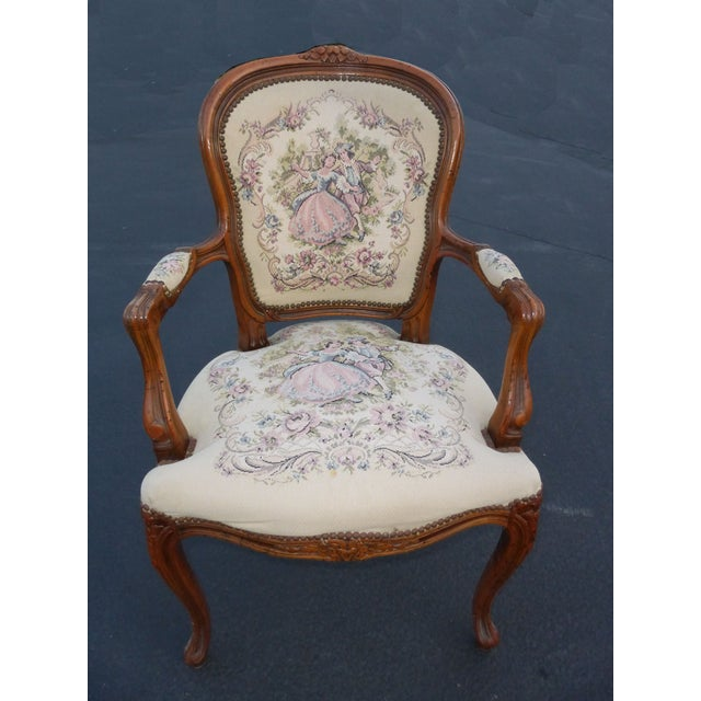 Vintage French Provincial tapestry ornate carved arm chair, made in Italy! Gorgeous chair in great vintage condition, wear...