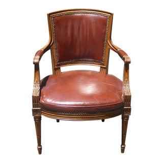 Vintage French Burnt Orange Side Cigar Chair W Decorative Nails