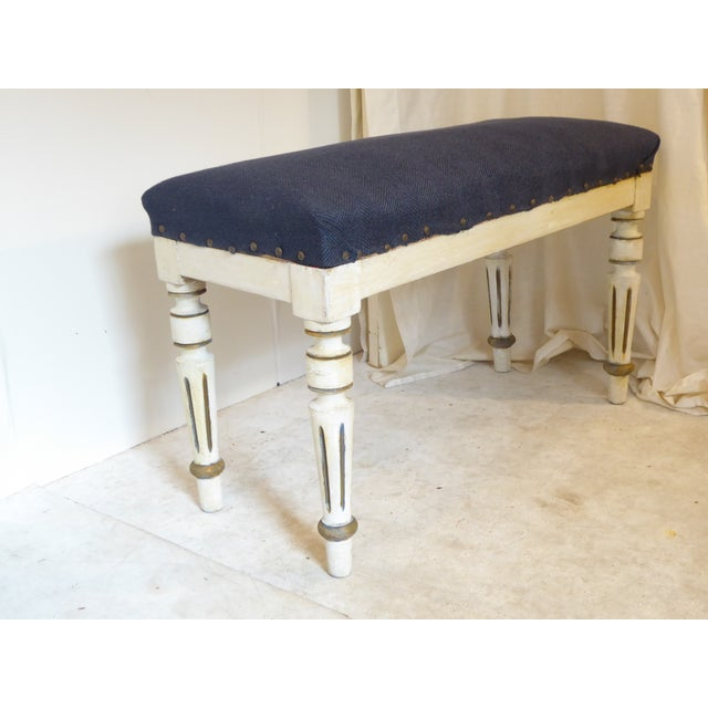 19th century Swedish wooden bench with worn paint, with upholstered seat, upholstery in need of update, sturdy.