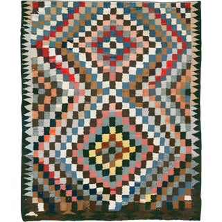 "Vintage Persian Flatweave Kilim Rug – Size: 5' 4"" X 6' 4"" For Sale"