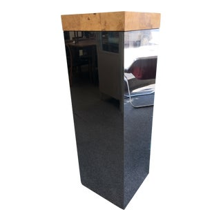 1970s Burled Wood + Mirrored Metal Pedestal Attributed to Milo Baughman For Sale