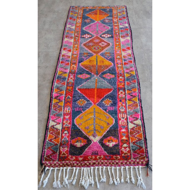 Islamic Heterodox Kurdish Runner Herki Rug. Hand-Knotted Colorful Tribal Short Runner - 3′ × 8′10″ For Sale - Image 3 of 11