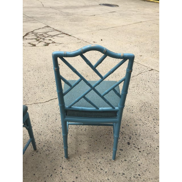 1980s Vintage Faux Bamboo Chinese Chippendale-Style Dining Chairs- Set of 4 For Sale - Image 4 of 5