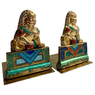Brass and Enamel Foo Dog Bookends For Sale